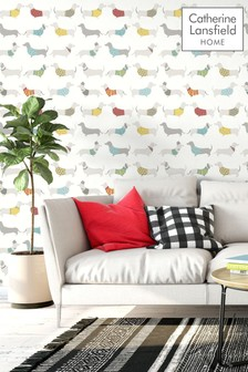 Silly Sausage Dog Wallpaper by Catherine Lansfield