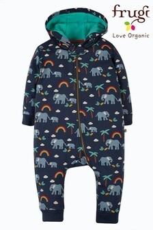 Frugi Navy Elephants Organic Cotton Cosy Pram Suit