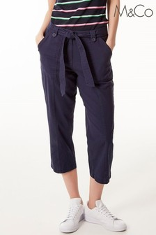 M&Co Blue Paperbag Waist Cargo Trousers