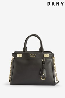 DKNY Black Smooth Leather Large Finch Tote Bag