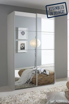 Cameron 1.36m Glass Sliding Wardrobe By Rauch
