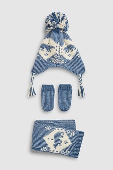 Fairisle Pattern Inca Hat, Scarf And Mittens Three Piece Set (Younger)