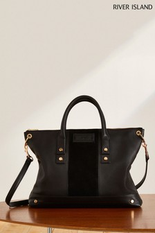 River Island Black Premium Soft Leather Tote