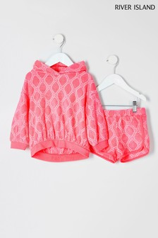 River Island Pink Logo Towelling Hoody And Short Set