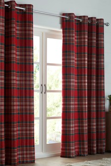 Crafted Thornly Woven Check Eyelet Lined Curtains