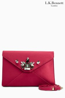 L.K.Bennett Alena Raspberry Satin Clutch Bag