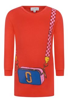 Girls Red Cotton Bag Print Dress