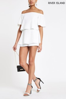 River Island White Playsuit