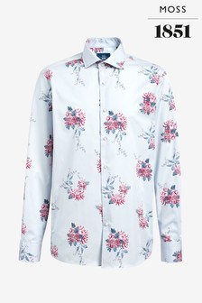 Moss 1851 Tailored Fit Grey Single Cuff Floral Print Shirt