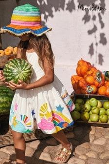 Boden Ivory Rainbow Hem And Strap Dress