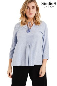 Studio 8 Blue Izzie Foil Spot Top