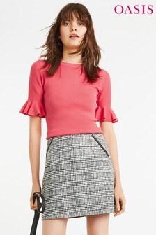 Różowy sweter Oasis Freya, z rozszerzanymi mankietami