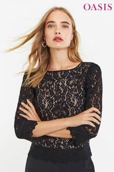 Oasis Black Lace 3/4 Sleeve Top