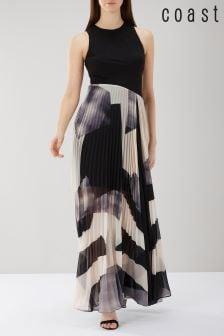 Czarna sukienka maxi z geometrycznym nadrukiem Coast Aria