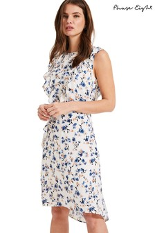 Phase Eight White Avery Frill Floral Dress
