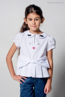 Angel & Rocket White Bow Front Top