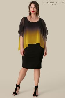 Live Unlimited Black And Yellow Ombre Cape Dress