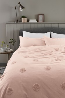 100% Cotton Tufted Spot Duvet Cover And Pillowcase Set
