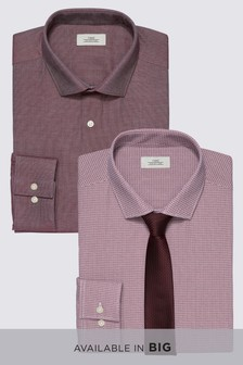Print And Texture Regular Fit Shirts Two Pack With Tie