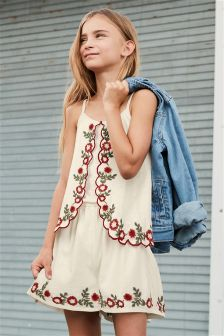 Embroidered Playsuit (3-16yrs)