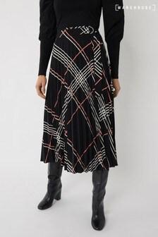 Warehouse Black Check Pleated Midi Wrap Skirt