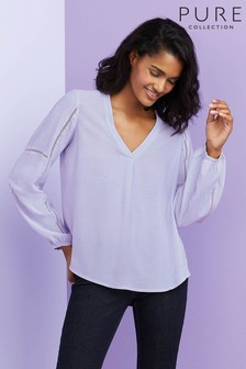 Pure Collection Purple Pintuck Lace Trim Blouse