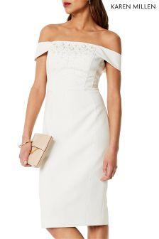 Karen Millen White Beaded Bardot Dress