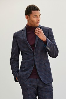 Slim Fit Wool Blend Check Suit