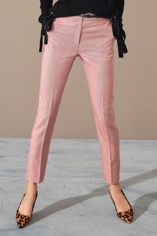 Check Belted Skinny Trousers