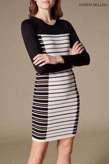 Karen Millen Black/White Ottoman Stripe Knit Dress