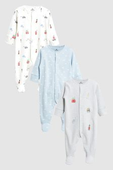 Embroidered London Dino Sleepsuits Three Pack (0mths-2yrs)