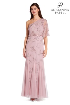 73a33eb5ff7 Adrianna Papell Pink Beaded Long Dress