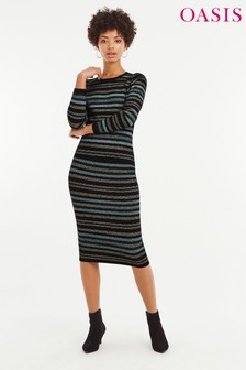 Oasis Natural Cassie Ariel Stripe Skirt