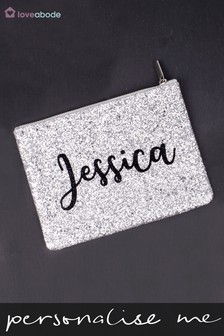 Personalised Glitter Makeup Bag by Loveabode