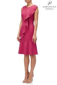 Adrianna Papell Red Knit Crepe Corkscrew Drop Waist Dress