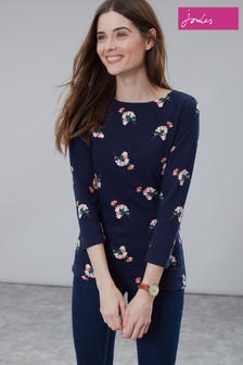 Joules Blue Harbour Light Printed Long Sleeve Jersey Top