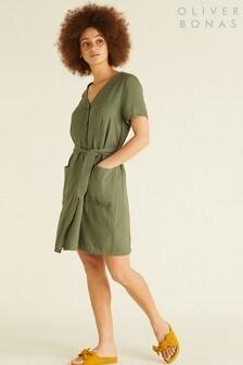 Oliver Bonas Green Adventure Linen Blend Mini Dress