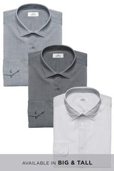 Набор из трех рубашек в полоску/из фактурной ткани