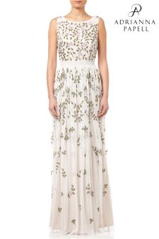 Adrianna Papell Ivory Floral Embellished Evening Dress