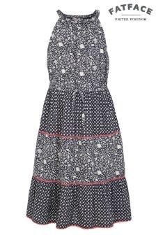 FatFace Navy Edith Ditsy Fish Dress