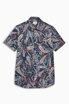 Short Sleeve Paisley Print Shirt