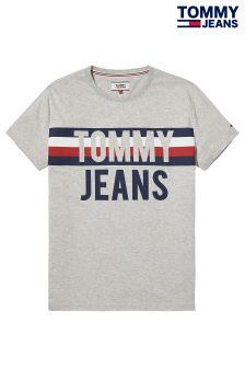 Tommy Jeans Grey Stripe Logo T-Shirt
