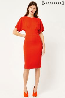 Warehouse Red Crepe Wiggle Dress