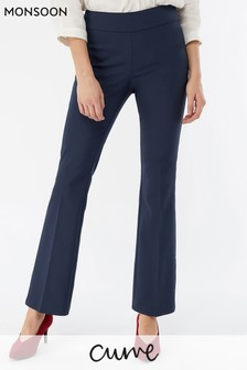 Monsoon Ladies Blue Matilda Slim Flare Trouser
