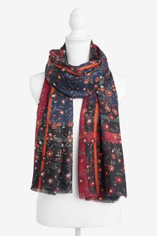 Floral Check Lightweight Scarf