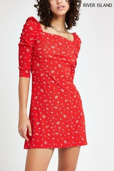River Island Red Floral Square Neck Dress