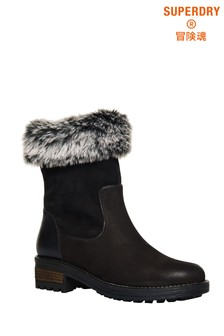 Superdry Black Fur Boots