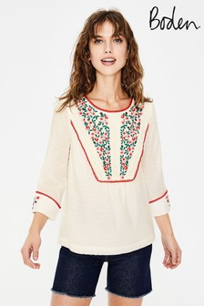 Boden White Kelsey Embroidered Blouse