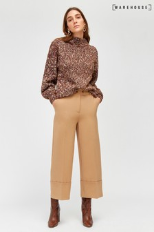 Warehouse Camel Button Tab Wide Leg Trouser