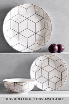 Rose Gold Marble Effect 12 Piece Dinner Set